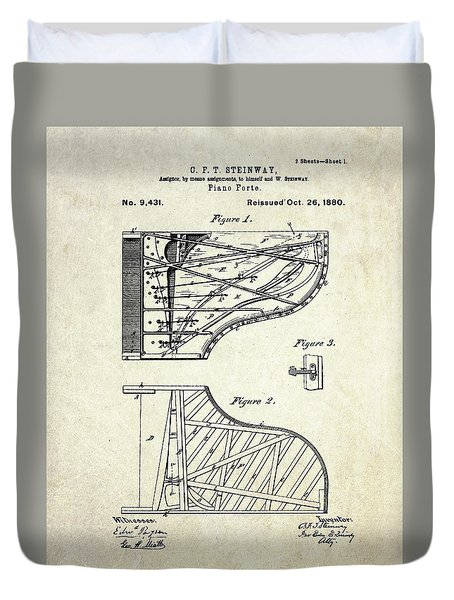 1880 Steinway Piano Forte Patent Art Sheet 1  Duvet Cover