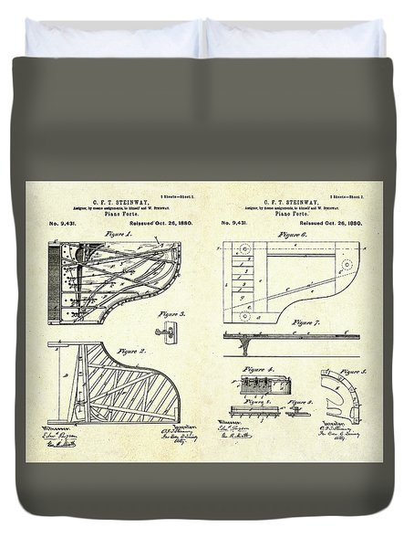 1880 Steinway Piano Forte Patent Art Sheets V2 Duvet Cover