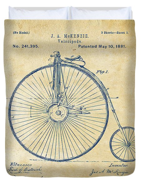 1881 Velocipede Bicycle Patent Artwork - Vintage Duvet Cover