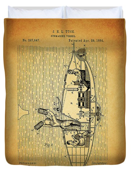 1884 Submarine Ship Patent Duvet Cover by Dan Sproul