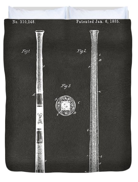 Duvet Cover featuring the digital art 1885 Baseball Bat Patent Artwork - Gray by Nikki Marie Smith