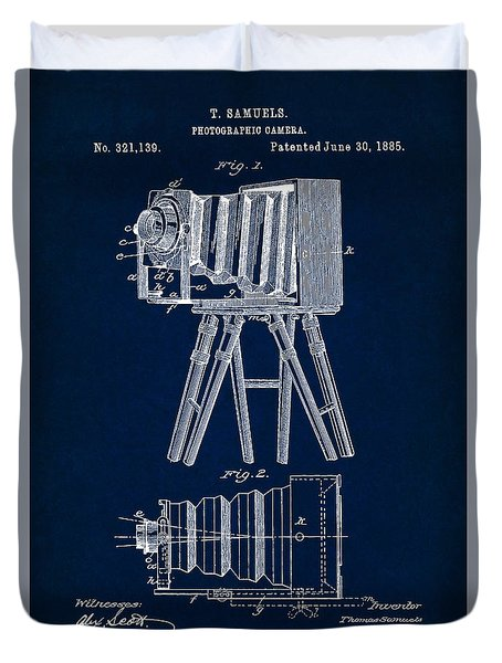1885 Camera Us Patent Invention Drawing - Dark Blue Duvet Cover