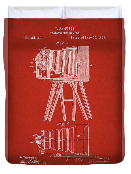 1885 Camera Us Patent Invention Drawing - Red Duvet Cover
