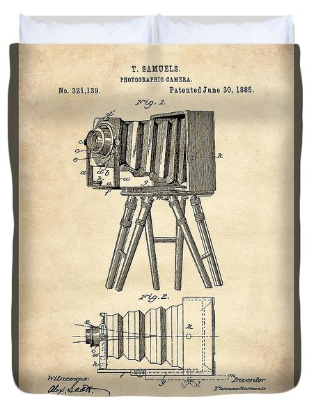 1885 Camera Us Patent Invention Drawing - Vintage Tan Duvet Cover