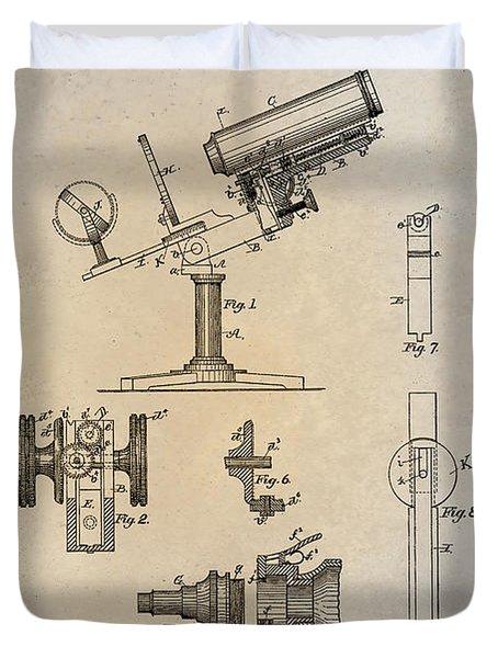 1886 Microscope Patent Art Fasoldt 1 Duvet Cover