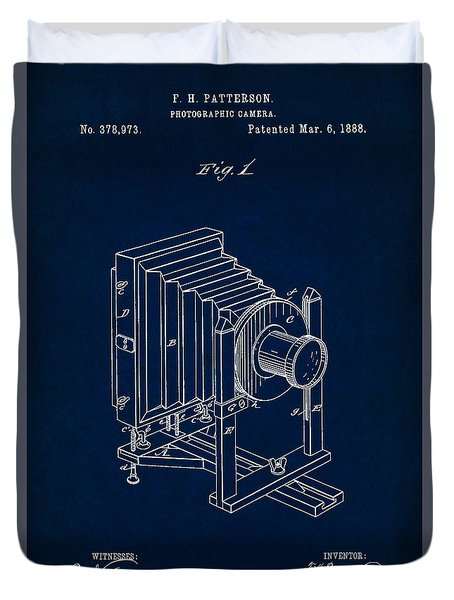 1888 Camera Us Patent Invention Drawing - Dark Blue Duvet Cover