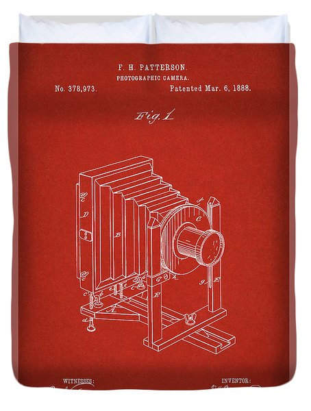 1888 Camera Us Patent Invention Drawing - Red Duvet Cover