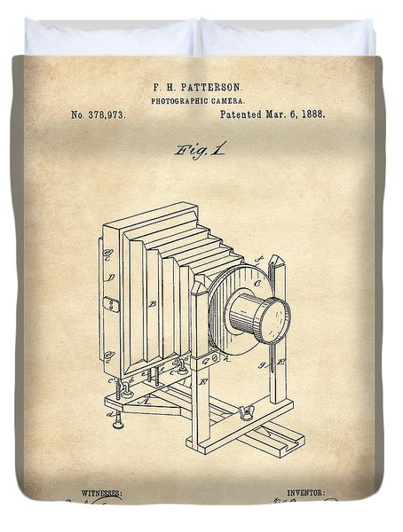 1888 Camera Us Patent Invention Drawing - Vintage Tan Duvet Cover