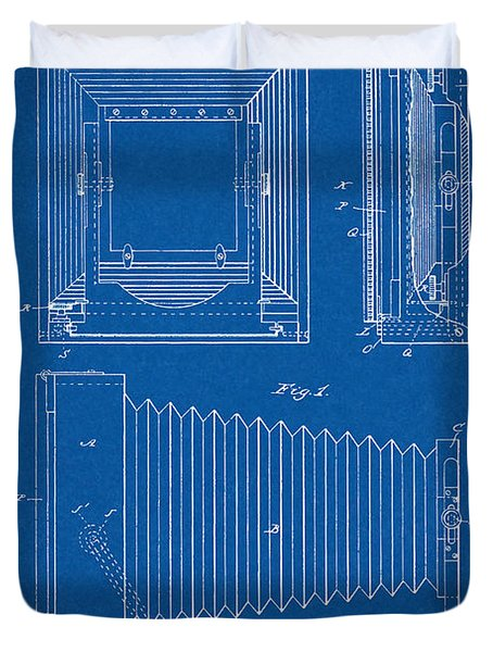 1891 Camera Us Patent Invention Drawing - Blueprint Duvet Cover
