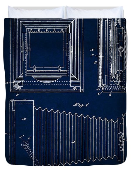 1891 Camera Us Patent Invention Drawing - Dark Blue Duvet Cover