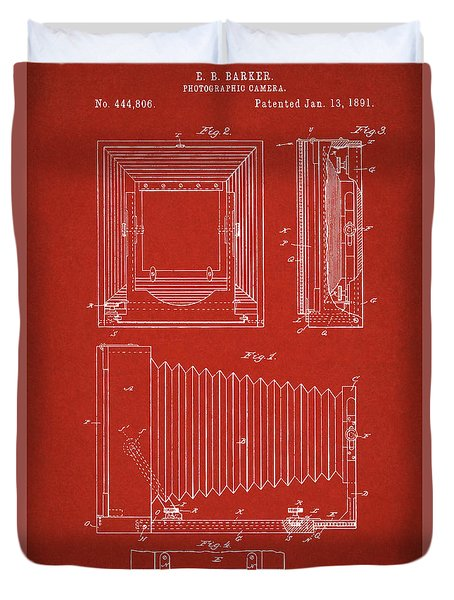 1891 Camera Us Patent Invention Drawing - Red Duvet Cover