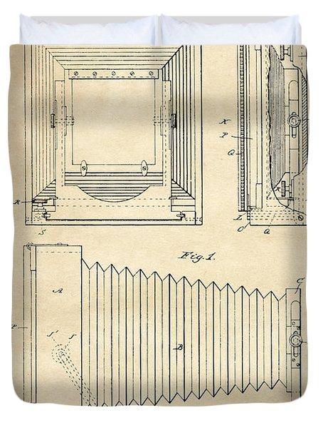 1891 Camera Us Patent Invention Drawing - Vintage Tan Duvet Cover