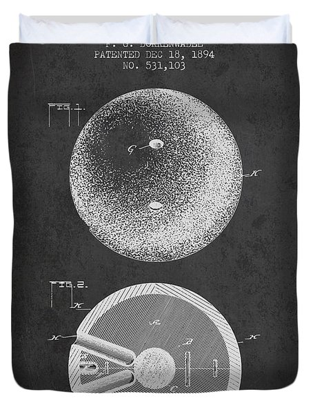 1894 Bowling Ball Patent - Charcoal Duvet Cover