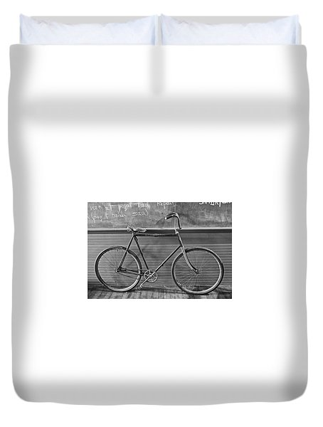 Duvet Cover featuring the photograph 1895 Bicycle by Joan Reese
