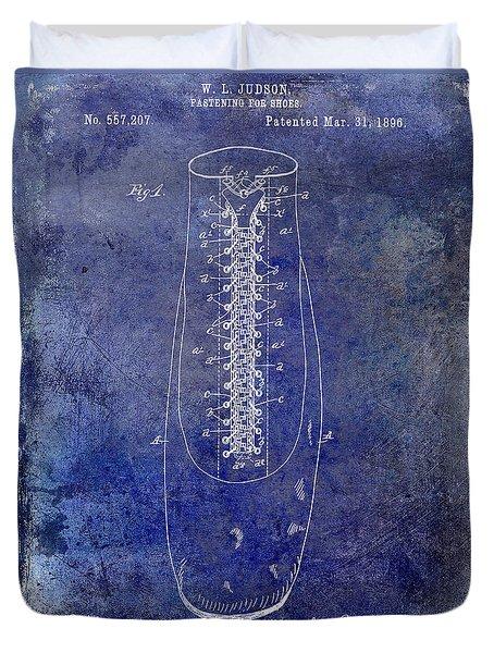 1896 Shoe Patent Blue Duvet Cover by Jon Neidert