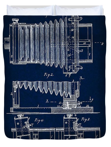 1897 Camera Us Patent Invention Drawing - Dark Blue Duvet Cover