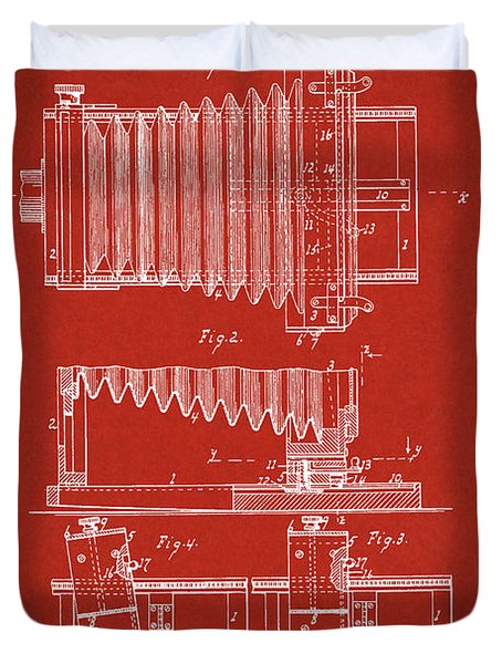1897 Camera Us Patent Invention Drawing - Red Duvet Cover