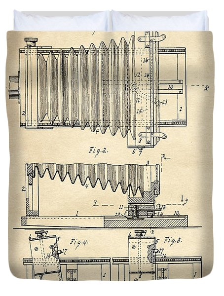 1897 Camera Us Patent Invention Drawing - Vintage Tan Duvet Cover