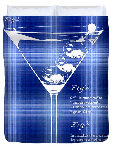1897 Dirty Martini Blueprint Duvet Cover by Jon Neidert