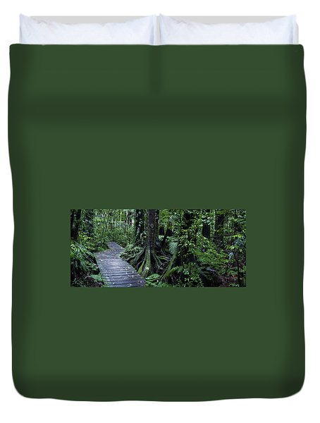 Duvet Cover featuring the photograph Forest Boardwalk by Les Cunliffe