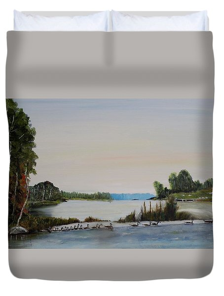 Duvet Cover featuring the painting 19 Geese by Marilyn  McNish