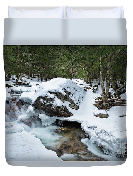 19 Mile Brook In Winter Duvet Cover
