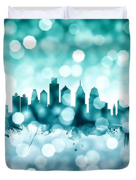 Philadelphia Pennsylvania Skyline Duvet Cover by Michael Tompsett
