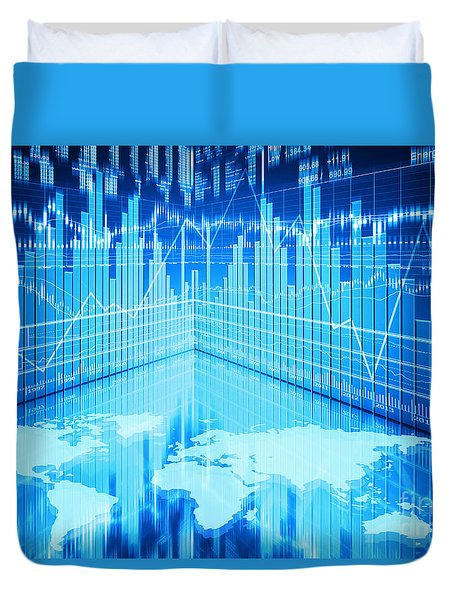 Duvet Cover featuring the photograph Stock Market Concept by Setsiri Silapasuwanchai
