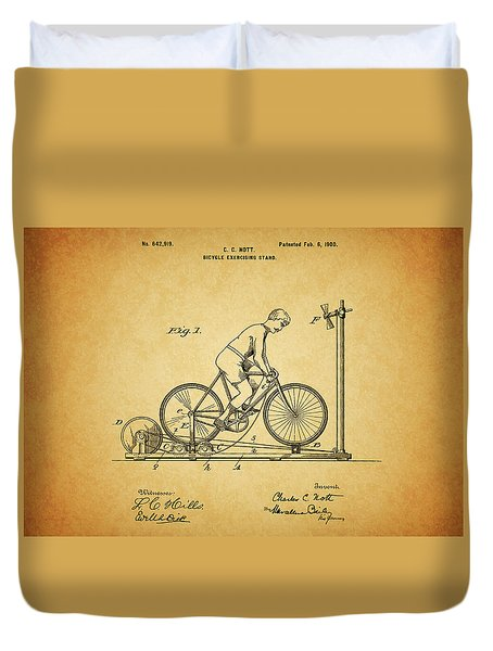 1900 Bicycle Exercise Stand Duvet Cover by Dan Sproul