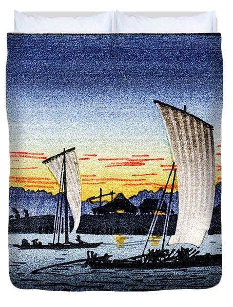 1900 Japanese Fishermen Duvet Cover