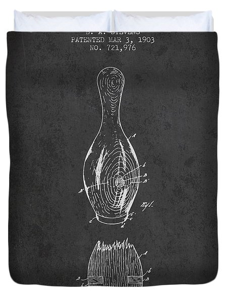 1903 Bowling Pin Patent - Charcoal Duvet Cover