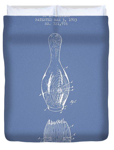 1903 Bowling Pin Patent - Light Blue Duvet Cover
