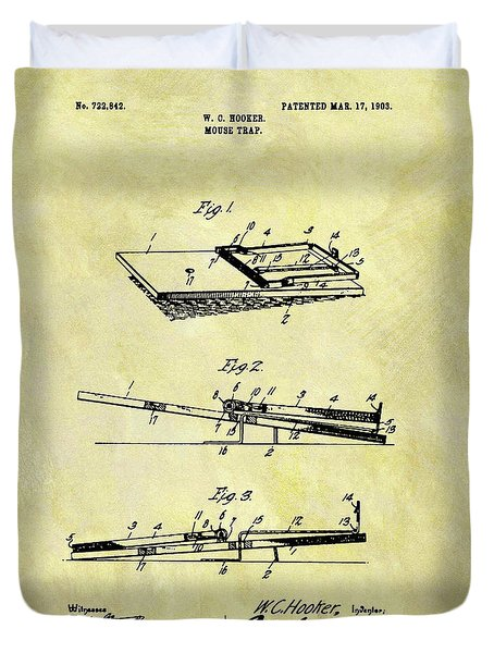Duvet Cover featuring the mixed media 1903 Mouse Trap Patent by Dan Sproul
