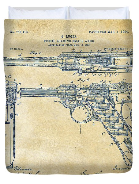 1904 Luger Recoil Loading Small Arms Patent - Vintage Duvet Cover