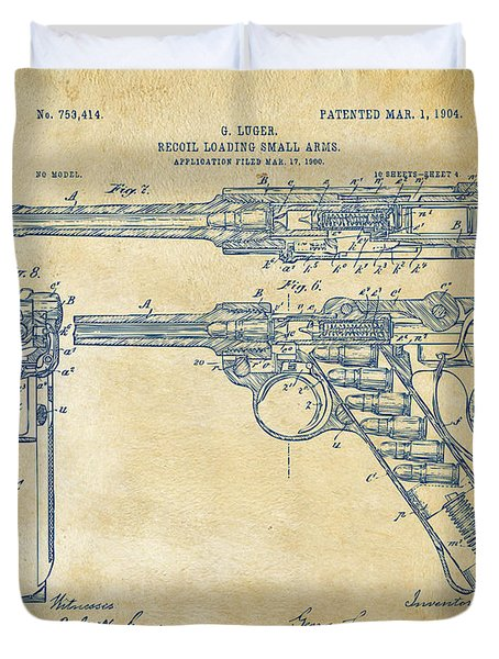 1904 Luger Recoil Loading Small Arms Patent - Vintage Duvet Cover by Nikki Marie Smith