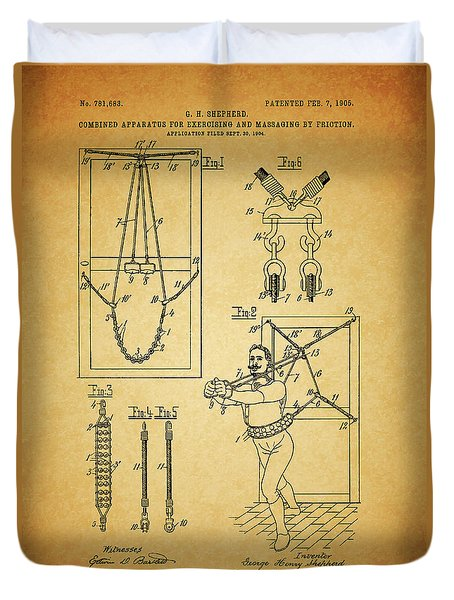 1905 Exercise Apparatus Patent Duvet Cover by Dan Sproul