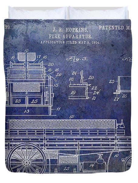 1905 Fire Apparatus Blue Duvet Cover
