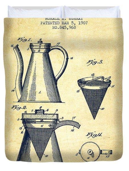 1907 Coffee Pot Patent - Vintage Duvet Cover