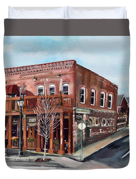 Duvet Cover featuring the painting 1907 Restaurant And Bar - Ellijay, Ga - Historical Building by Jan Dappen