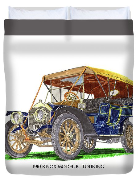 Duvet Cover featuring the painting 1910 Knox Model R 5 Passenger  Touring Automobile by Jack Pumphrey