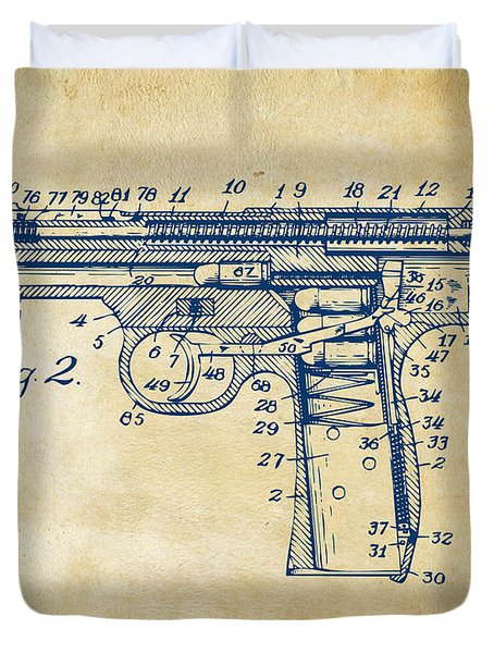 1911 Automatic Firearm Patent Minimal - Vintage Duvet Cover