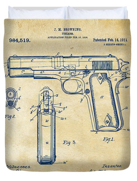 Duvet Cover featuring the digital art 1911 Colt 45 Browning Firearm Patent Artwork Vintage by Nikki Marie Smith