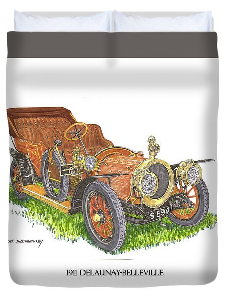 Duvet Cover featuring the painting 1911 Delaunay Belleville Open Tourer by Jack Pumphrey
