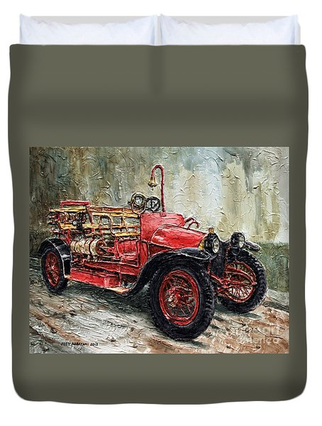 Duvet Cover featuring the painting 1912 Porsche Fire Truck by Joey Agbayani