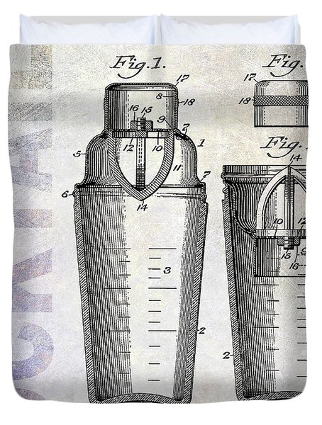 1913 Cocktail Shaker Patent Duvet Cover