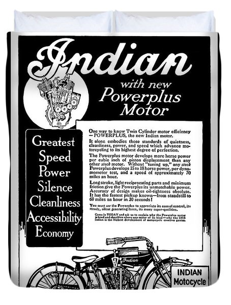 Duvet Cover featuring the digital art 1913 Indian Motorcycle Is The Best by Daniel Hagerman