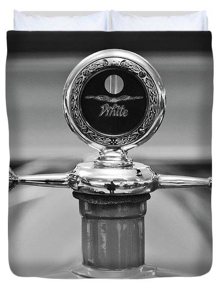 1913 White Gentlemans's Roadster Hood Ornament 2 Duvet Cover by Jill Reger