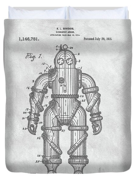 1915 Diving Suit Patent Duvet Cover