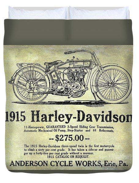1915 Harley Davidson Advertisement Duvet Cover by Jon Neidert