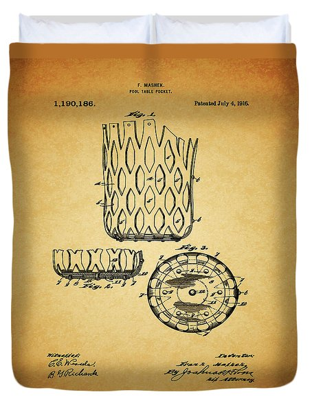 Duvet Cover featuring the mixed media 1916 Pool Table Pocket Patent by Dan Sproul